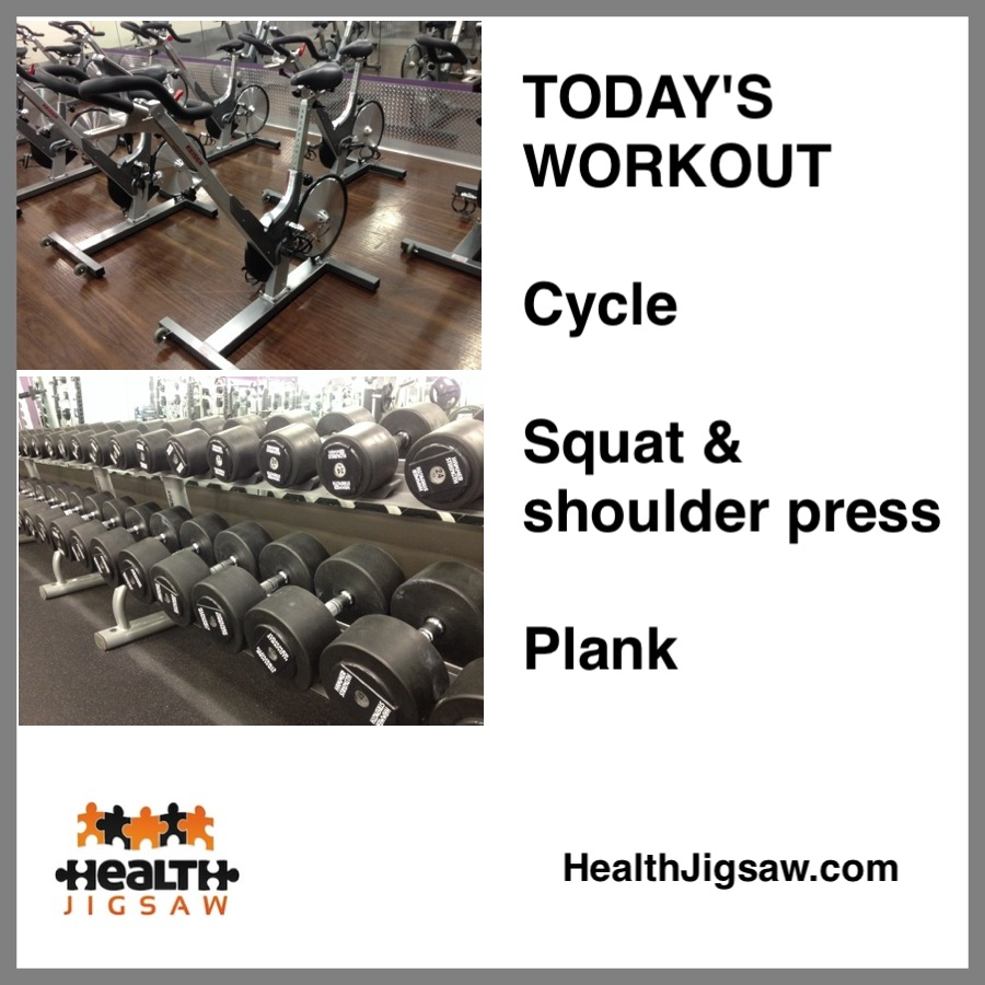 Workout - Cycle, Squat & Shoulder Press, Plank